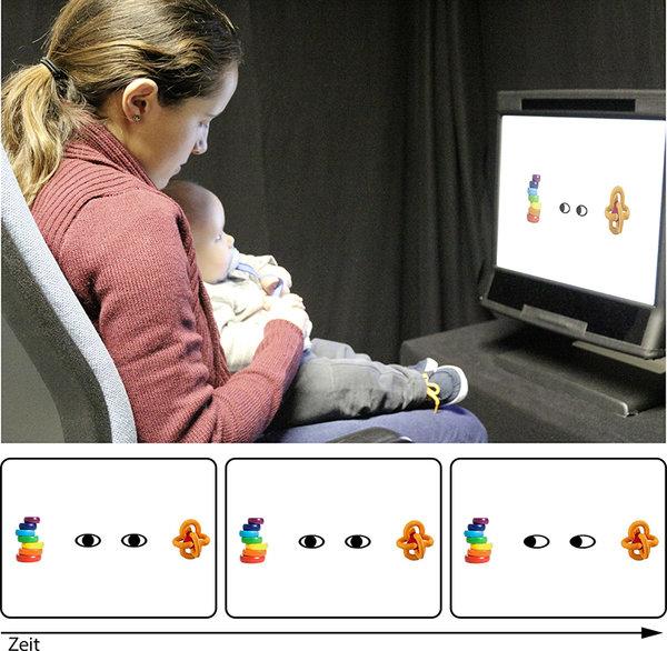 Die Bewegung der schwarzen Punkte scheint die Aufmerksamkeit der Babys genauso auf Gegenstände in der Umgebung lenken zu können, wie es der Blickrichtung einer anderen Person gelingt. <span class=