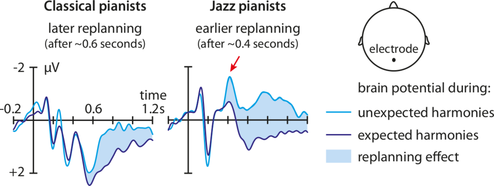 When the scientists asked the pianists to play a harmonically unexpected chord within a standard chord progression, the jazz pianists' brains started to replan the actions faster than those of the classical pianists. This was measured by EEG  (Electroencephalography) sensors on the back of the head, which detected the brain signals in the related brain regions responsible for action planing. © MPI CBS